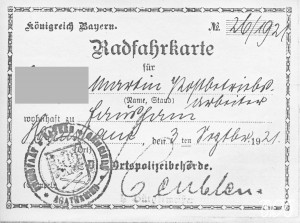 Radfahrkarte 1921